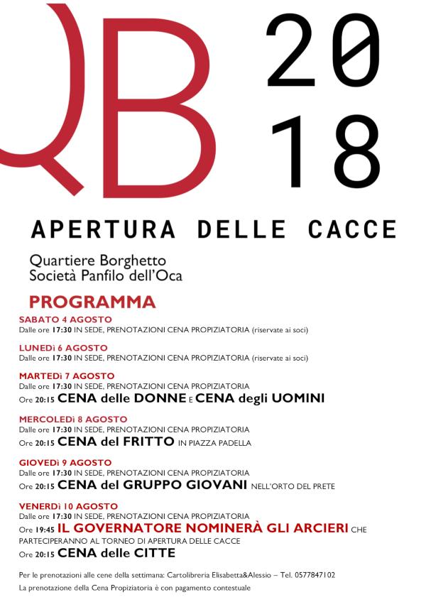Programma Apertura delle Cacce 2018